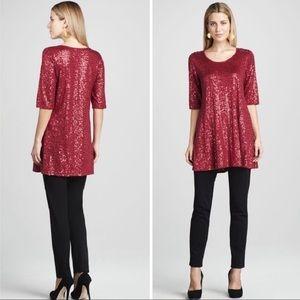 Eileen Fisher Red Sequin Silk Tunic Top Dress